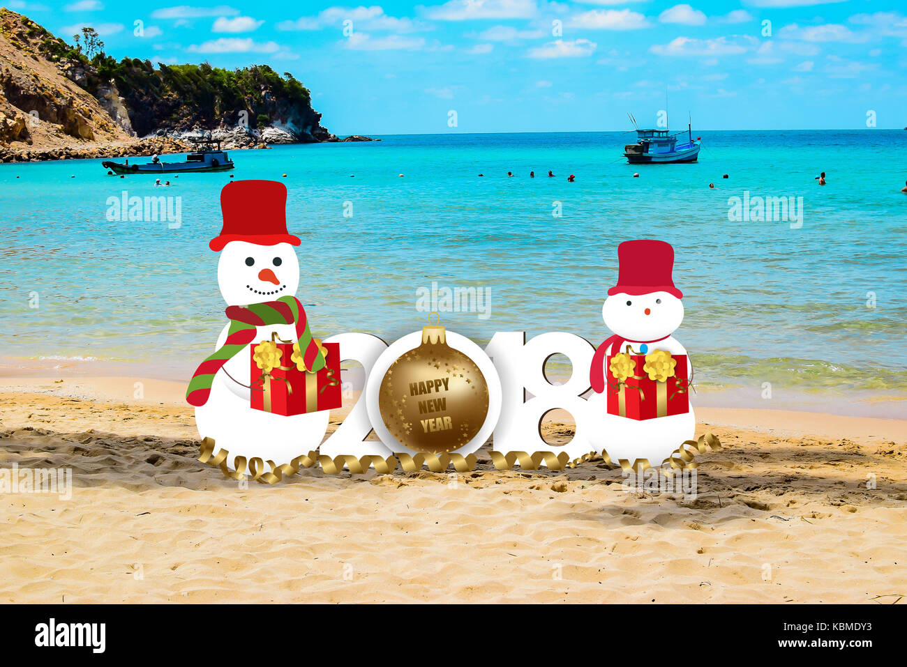 happy new year for 2018 with snowman on the beach background