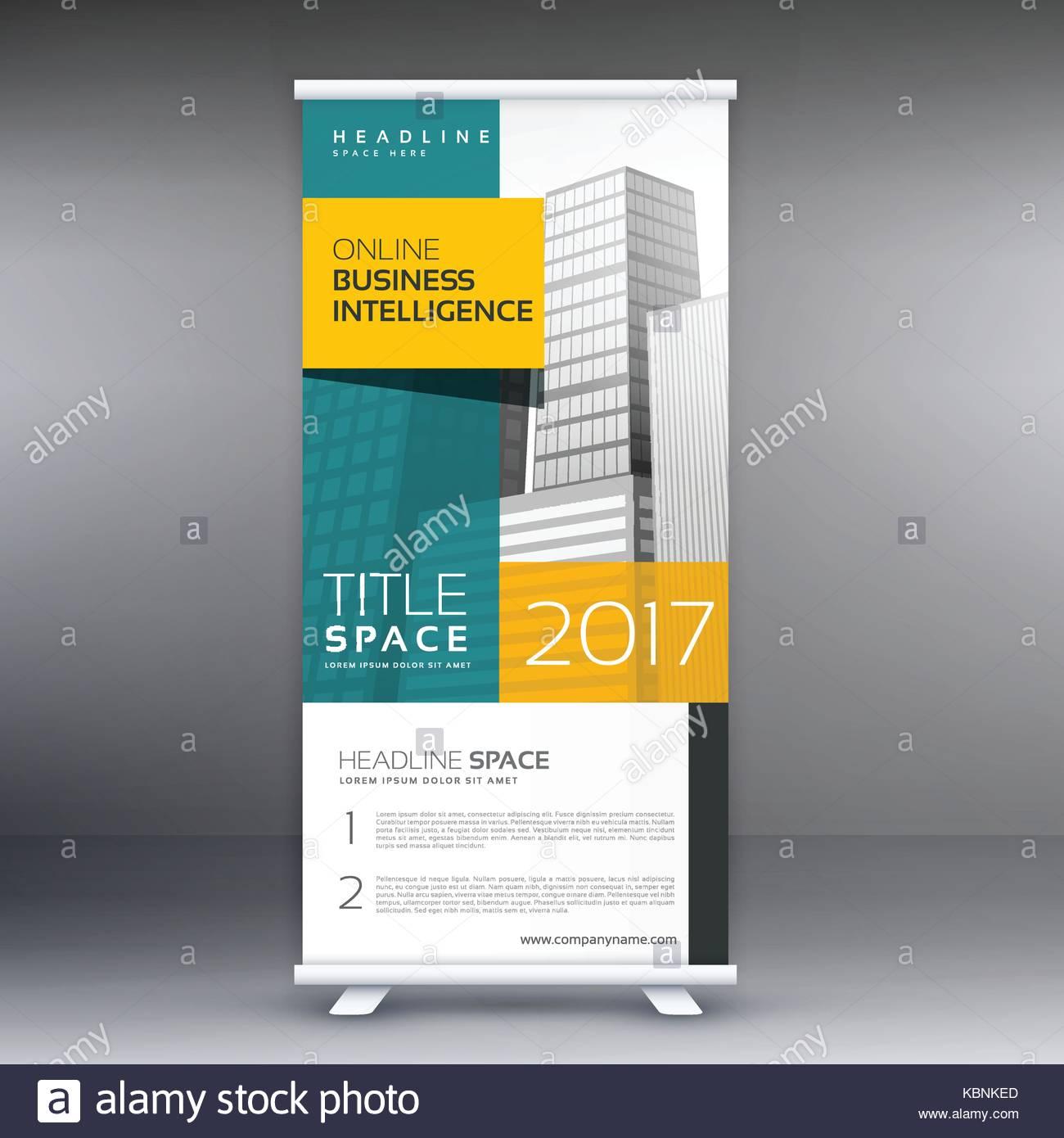 roll up banner standee display template design vector stock vector