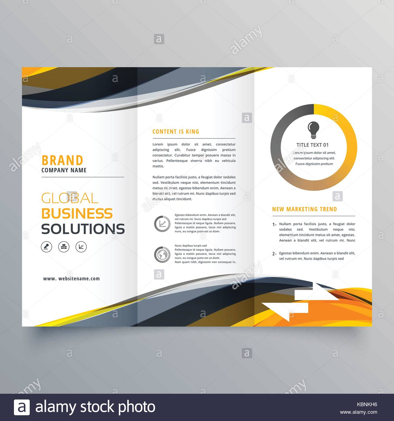 tri fold business brochure design template with wavy yellow black