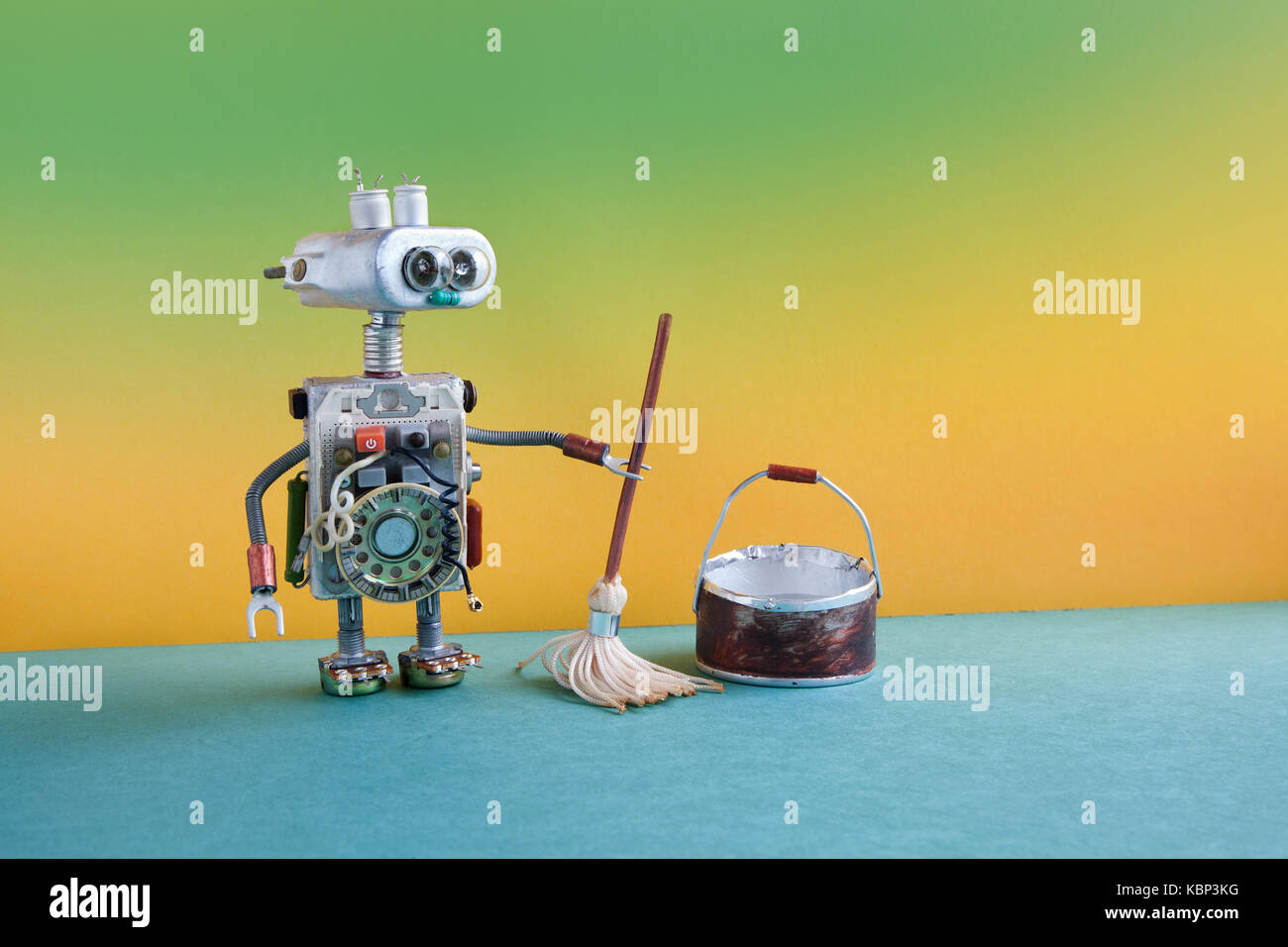 Cleaning robot stock photos cleaning robot stock images alamy cleaning room service concept robotic washer with mop and bucket of water mopping floor ccuart Choice Image