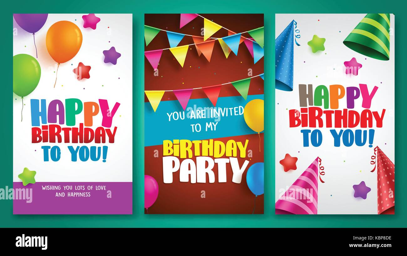 Happy birthday vector poster designs set with colorful elements happy birthday vector poster designs set with colorful elements like balloons and birthday hats for birthday party and other celebrations stopboris Gallery