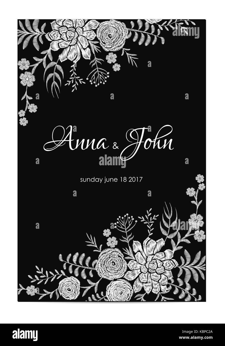 black and white wedding invitation. vintage greeting card template