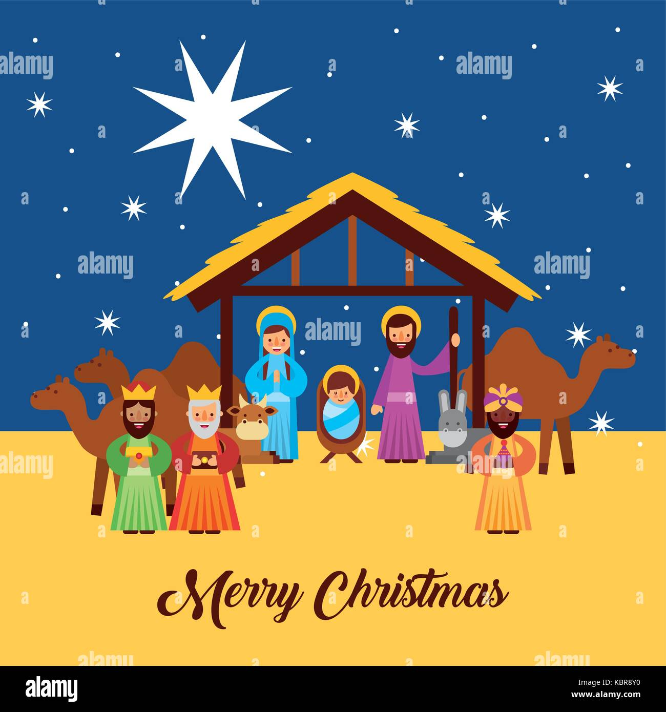 merry christmas greetings with jesus born in manger joseph and mary ...