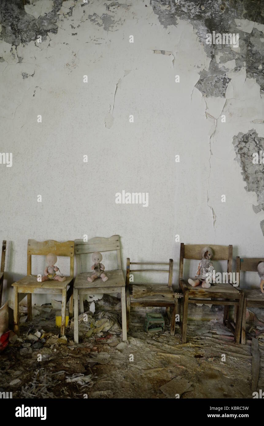 Creepy Dolls On Chairs In An Abandoned School Building Pripyat Chernobyl Exclusion Zone