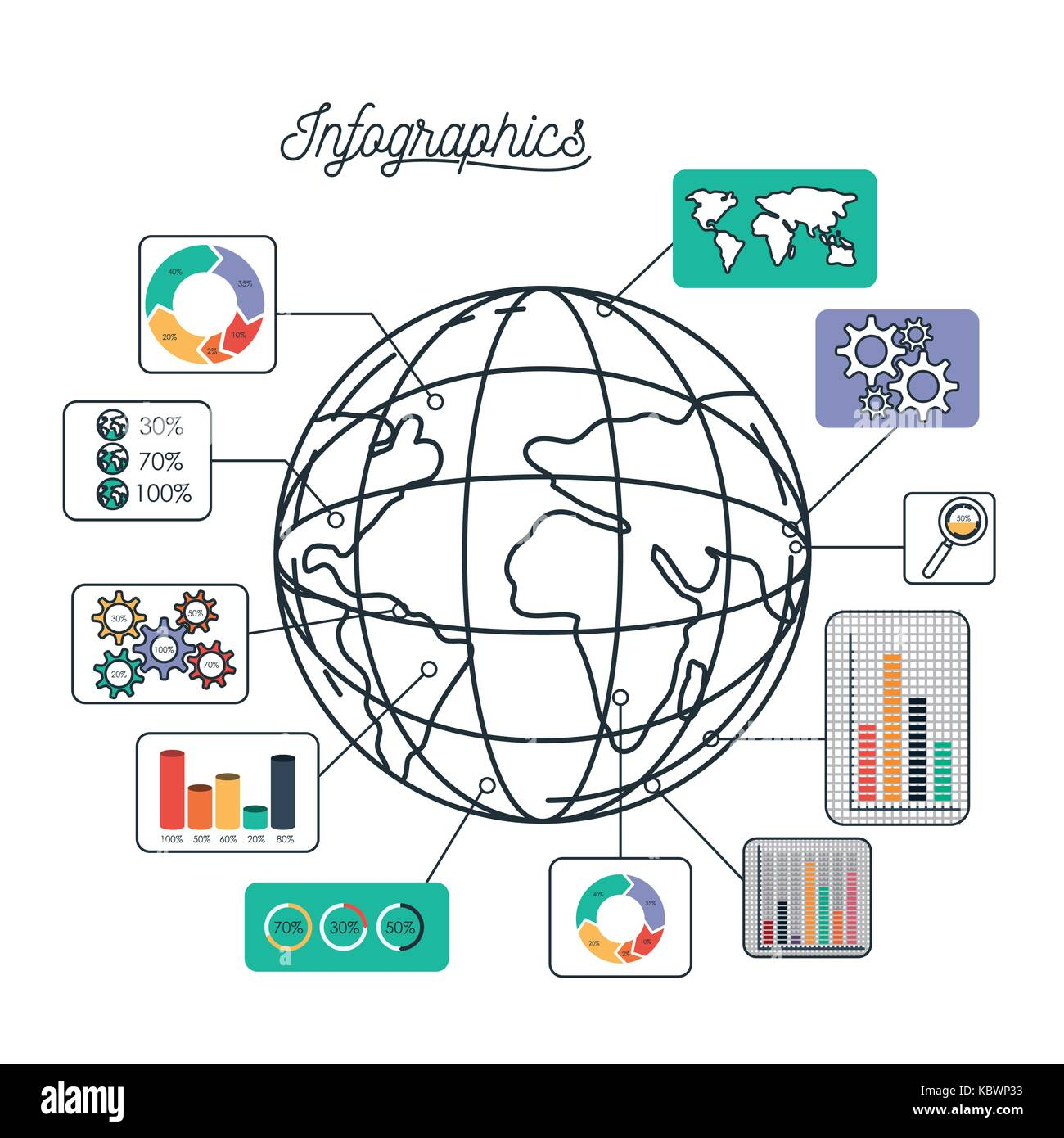 Infographics and statistics with globe map stock vector art infographics and statistics with globe map ccuart Images