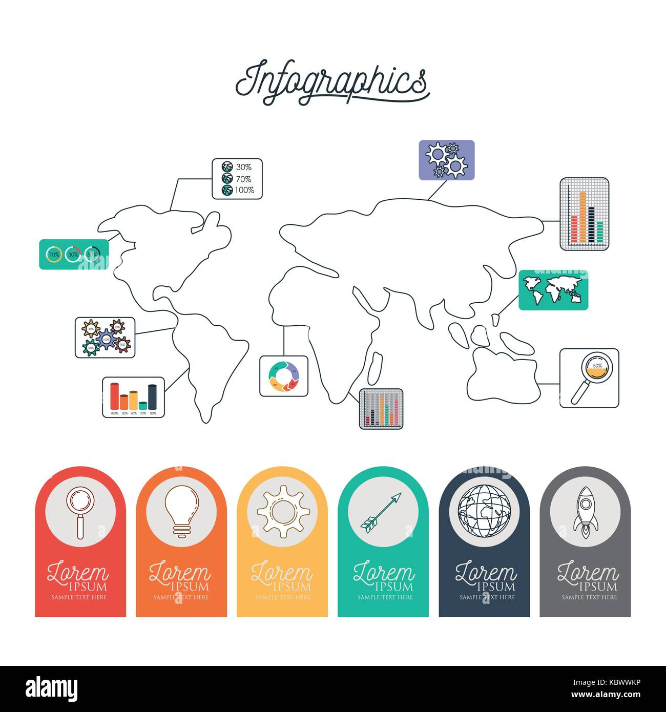 Infographic world map with labels with icons on circles on bottom infographic world map with labels with icons on circles on bottom gumiabroncs Image collections