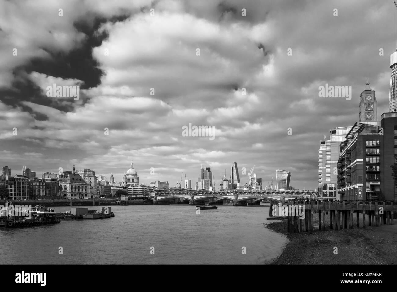 Panoramic view, City of London financial district skyline, Blackfriars  Bridge, OXO Tower,