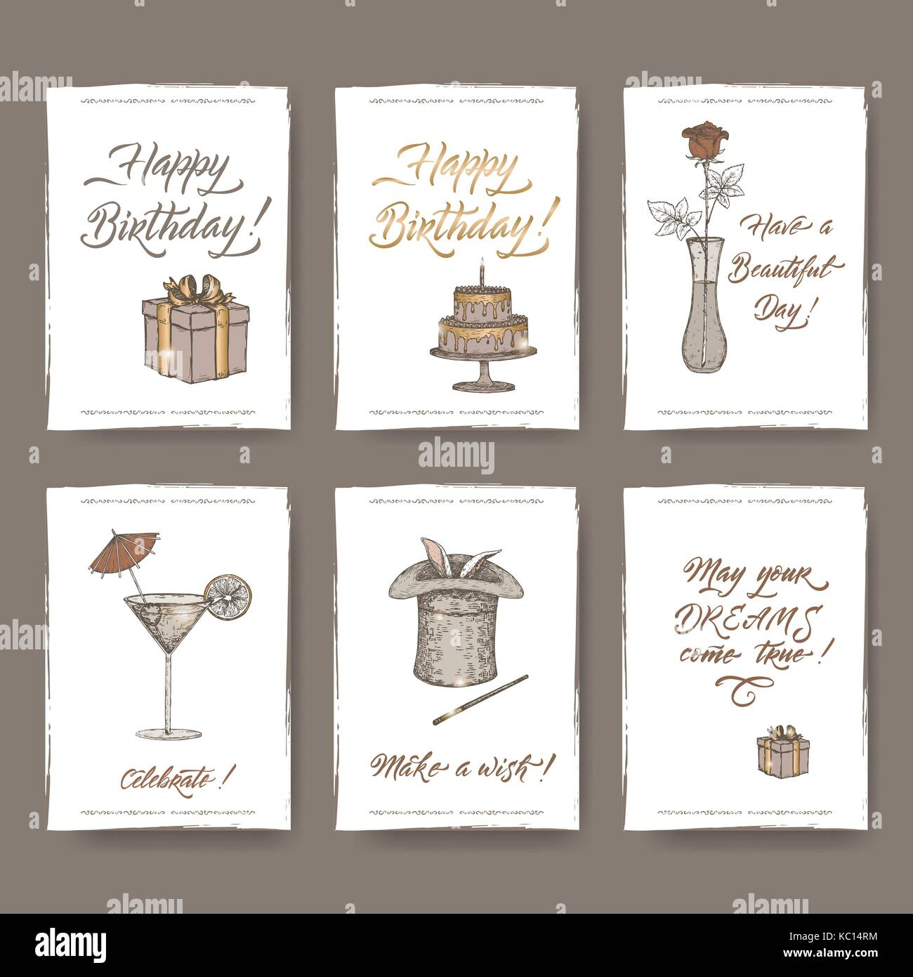 Set Of Six Romantic A4 Format Vintage Birthday Cards With Calligraphy,  Gift, Cake, Flower, Cocktail, Magic Hat Sketch  Birthday Cards Format