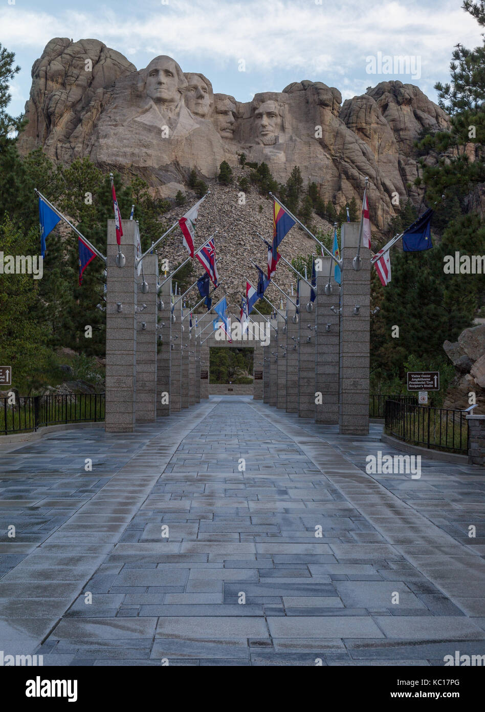 deserted-walkway-of-state-flags-leading-