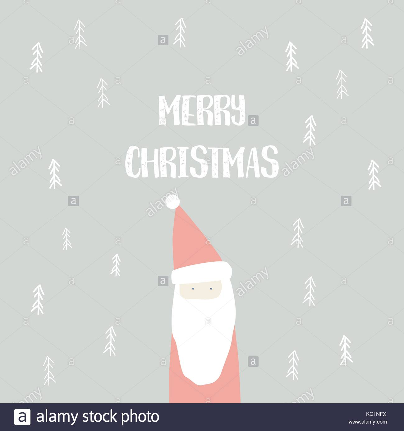 Christmas card vector template with cute, adorable hand drawn santa ...