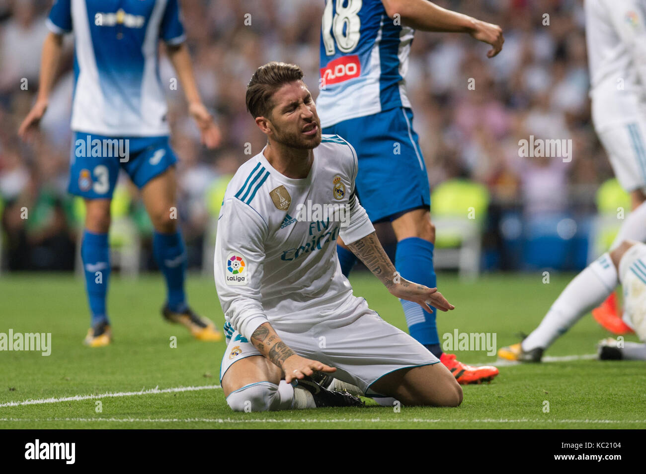 madrid spain october 1 2017 sergio ramos real madrid s player la liga between real madrid vs espanyol at the santiago bernabeu stadium in madrid spain