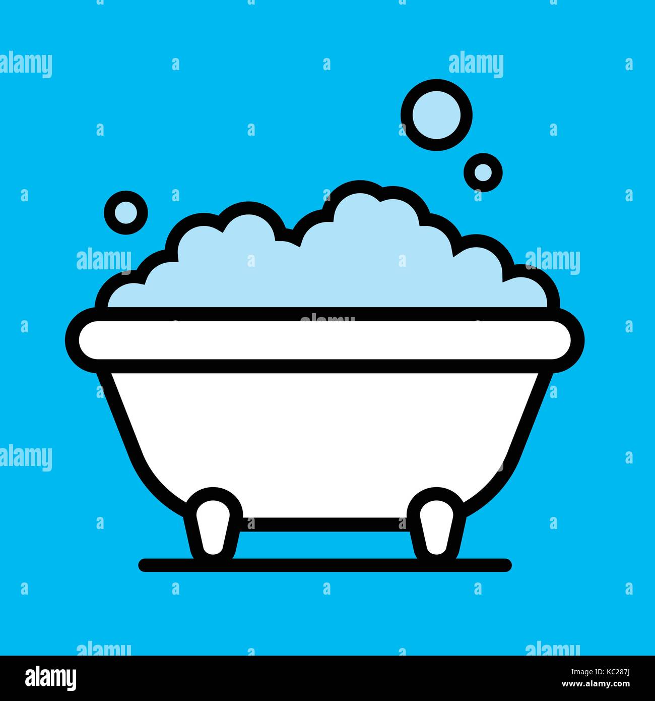 Bathtub with foam bubbles isolated on blue background. Bath time in ...