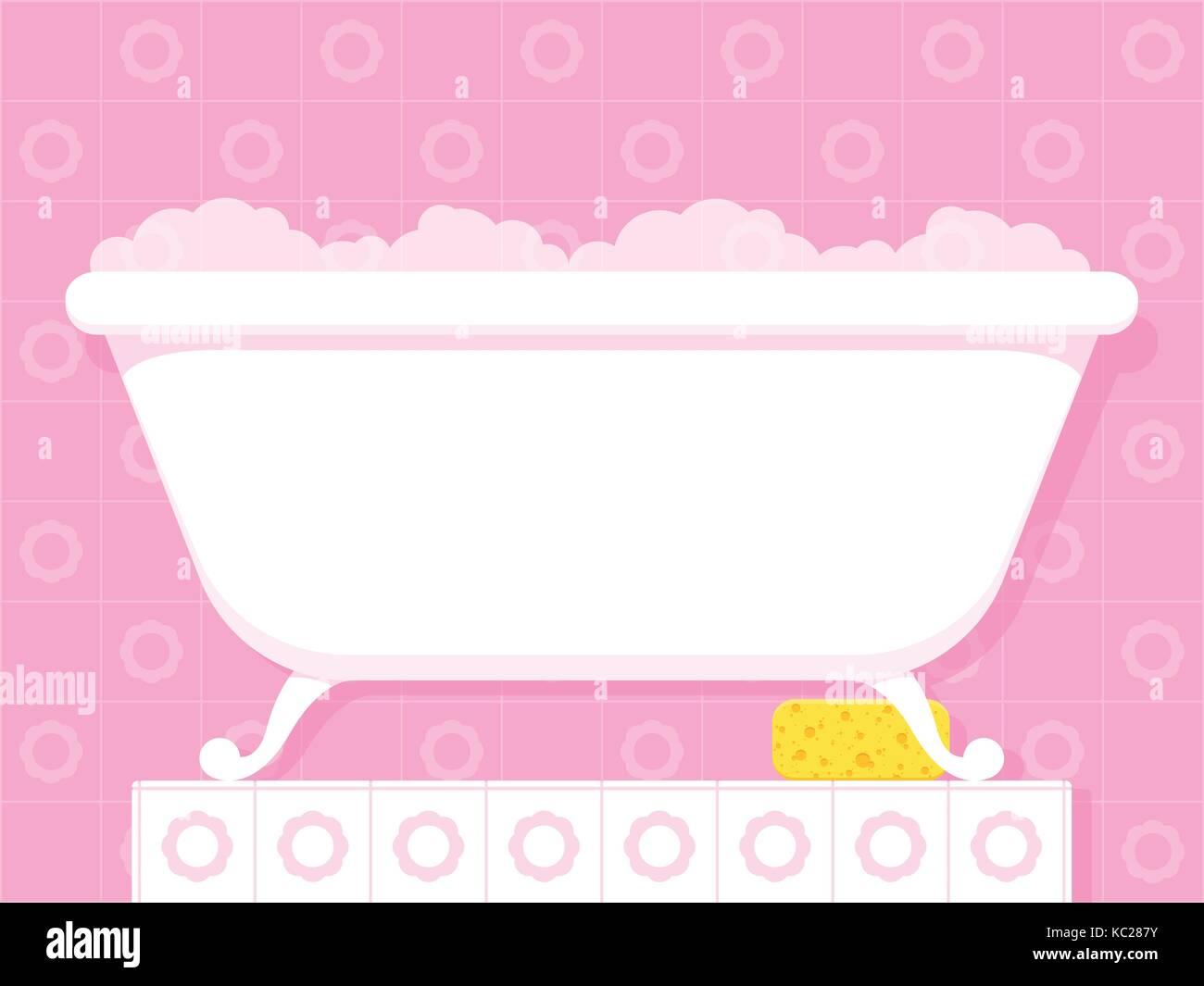 Bubble bath tub wit sponge - vector illustration Stock Vector Art ...