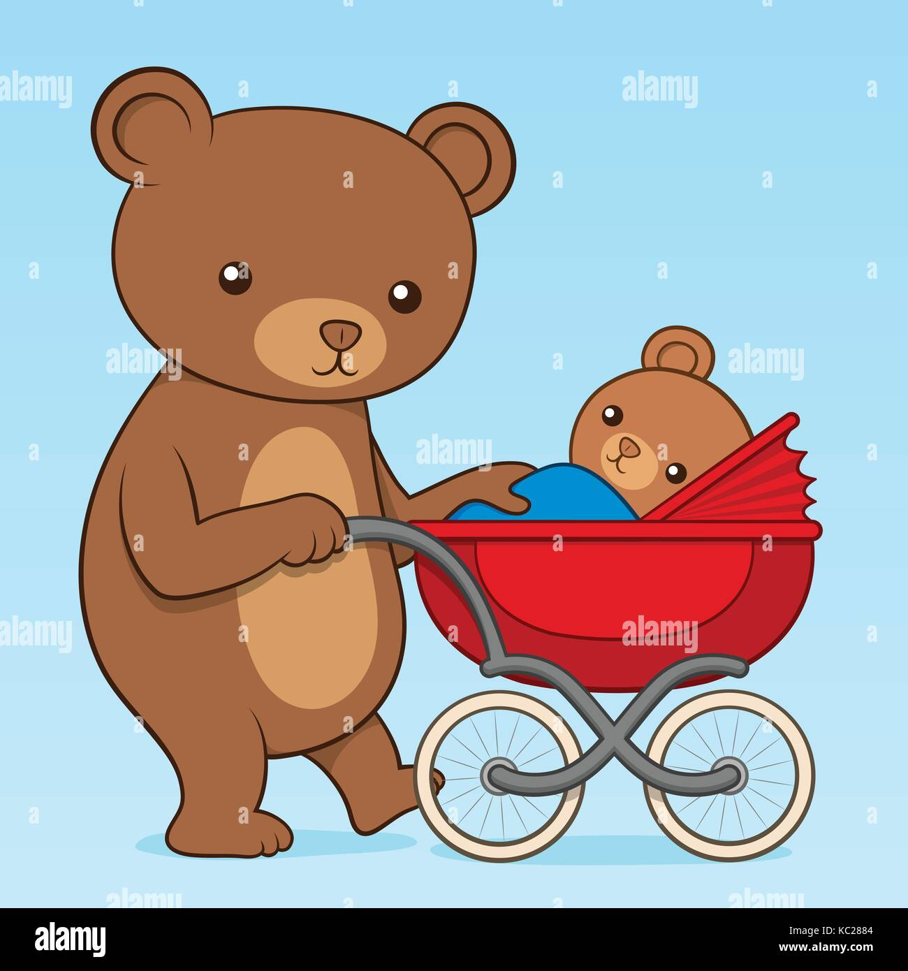 Mother Bear Pushing Her Cute Little Cub In A Colorful Red Buggy Or Pram Vector Cartoon Illustration As She Takes It For Family Walk Outdoors