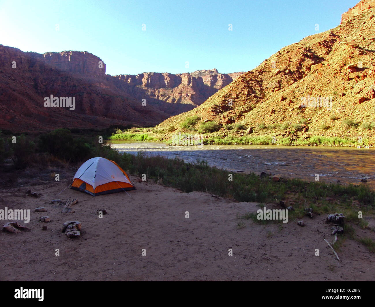 C&ing tent on the Colorado river bank in the Grand Canyon. Morning sun lights in Grand Canyon c&ground & Camping tent on the Colorado river bank in the Grand Canyon ...