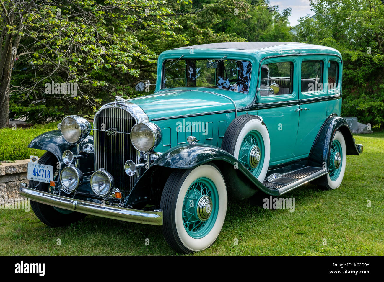 Restored green hard top 1932 McLaughlin Buick front side view ...