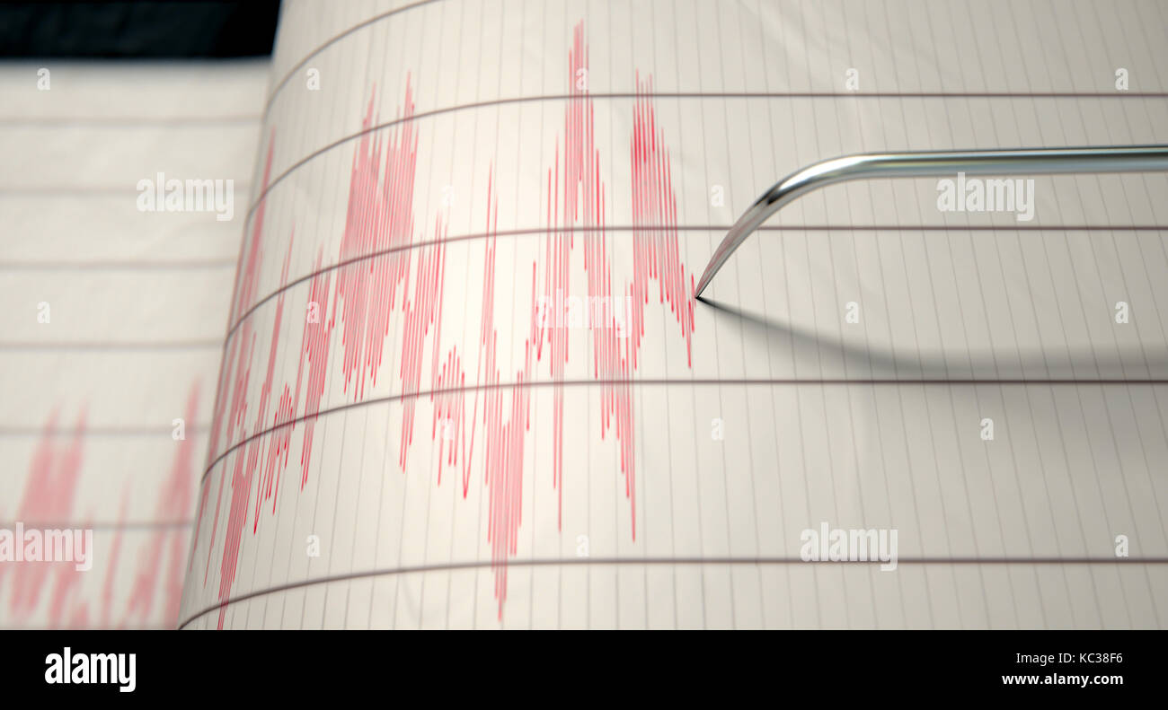 a closeup of a seismograph machine needle drawing a red line on