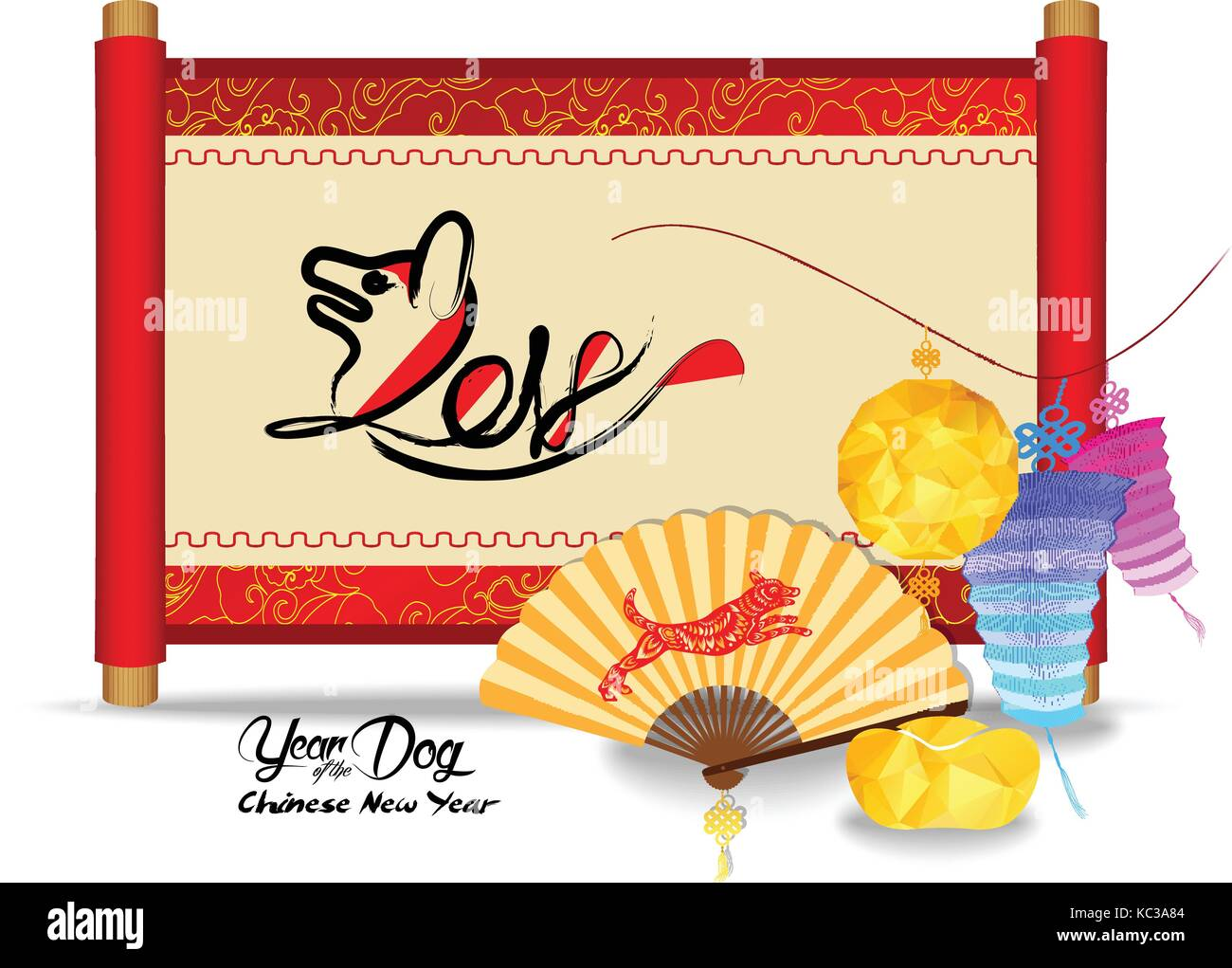 Chinese New Year Greeting With Chinese Festive Symbols In Oriental