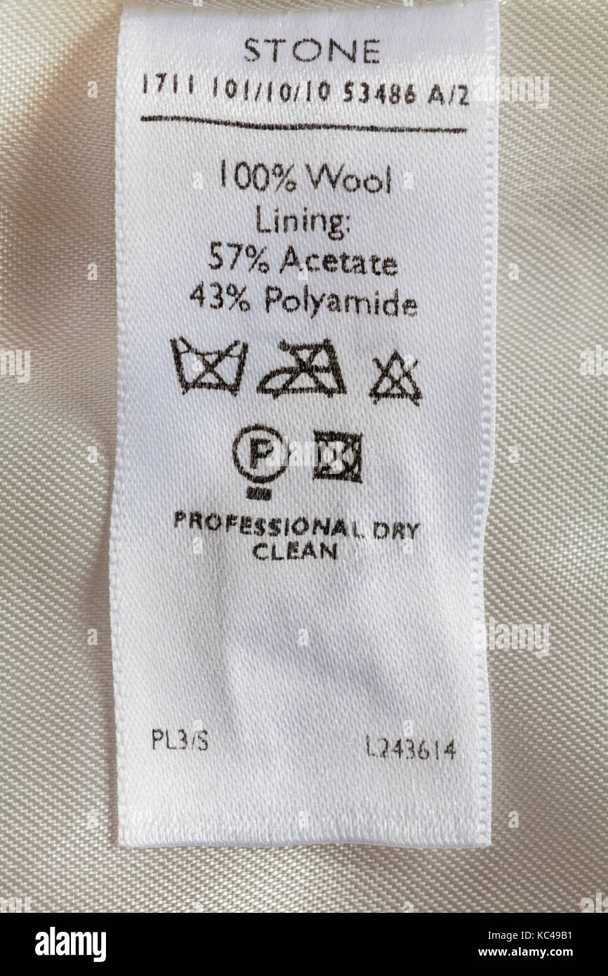 Care Washing Symbols And Instructions On Label In Womans Clothing