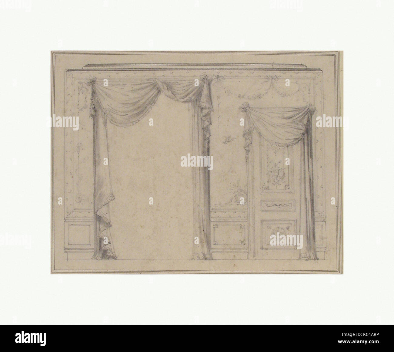 Design For Wall Treatment With Window And Door, Charles Monblond, 19th  Century