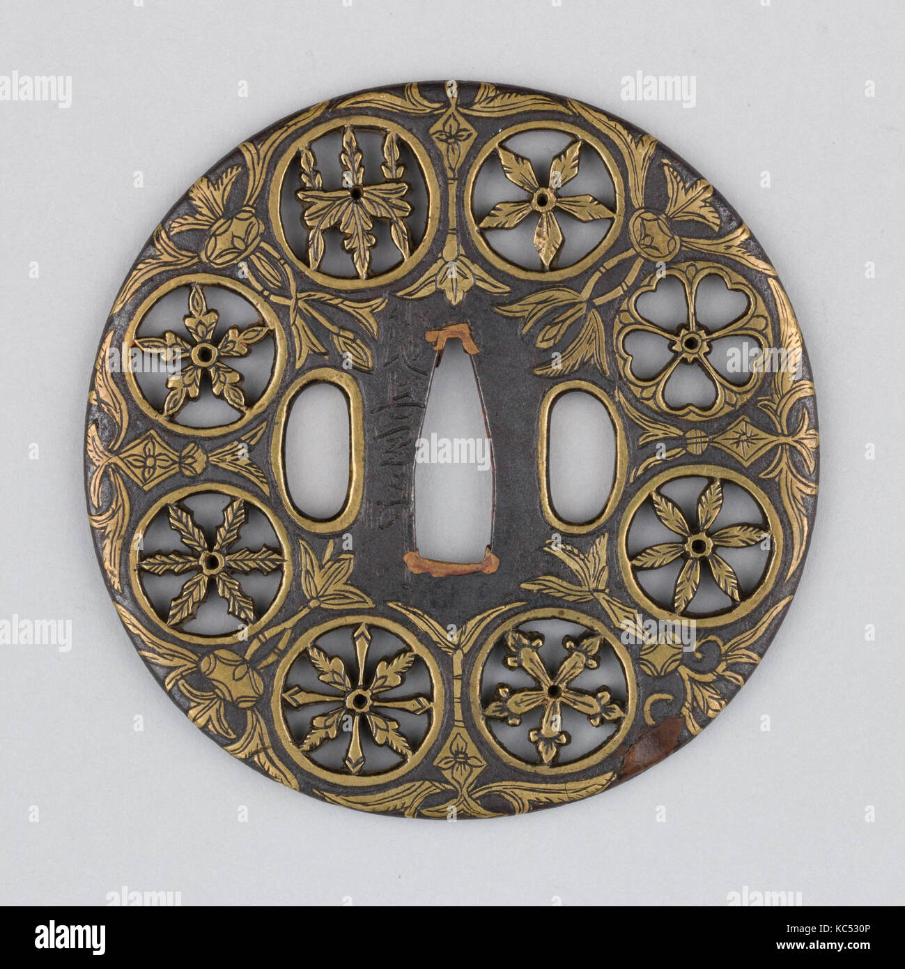 Sword guard tsuba 16th century japanese iron brass copper sword guard tsuba 16th century japanese iron brass copper diam 3 58 in 92 cm thickness 316 in 05 cm wt 54 buycottarizona Image collections