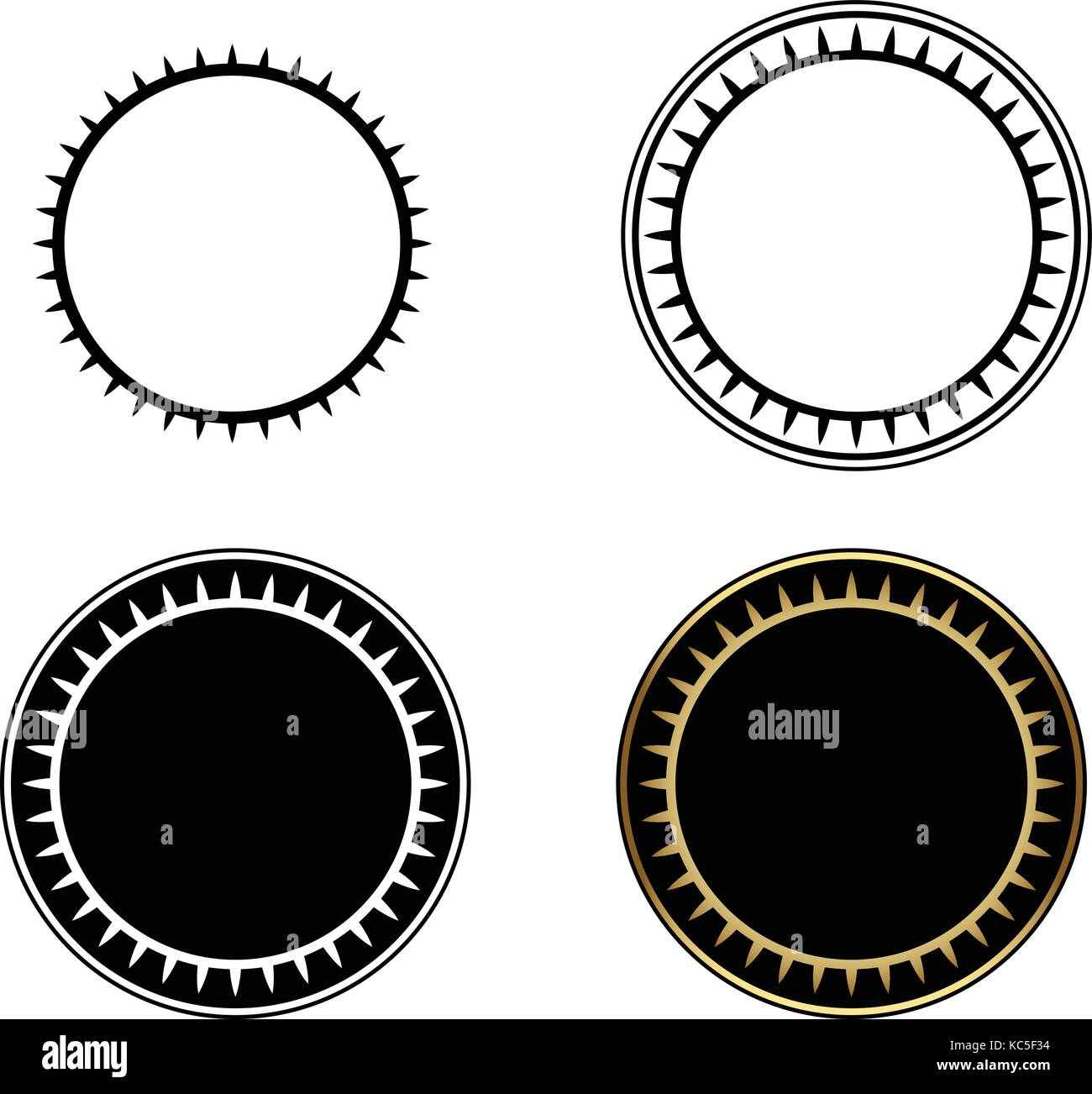 Set of Circle frames, round frame, gold circle frame-vector Stock ...