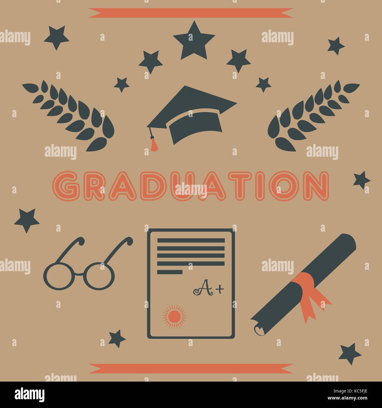 Graduation Package Retro Design Black And Orange Icons For Stock