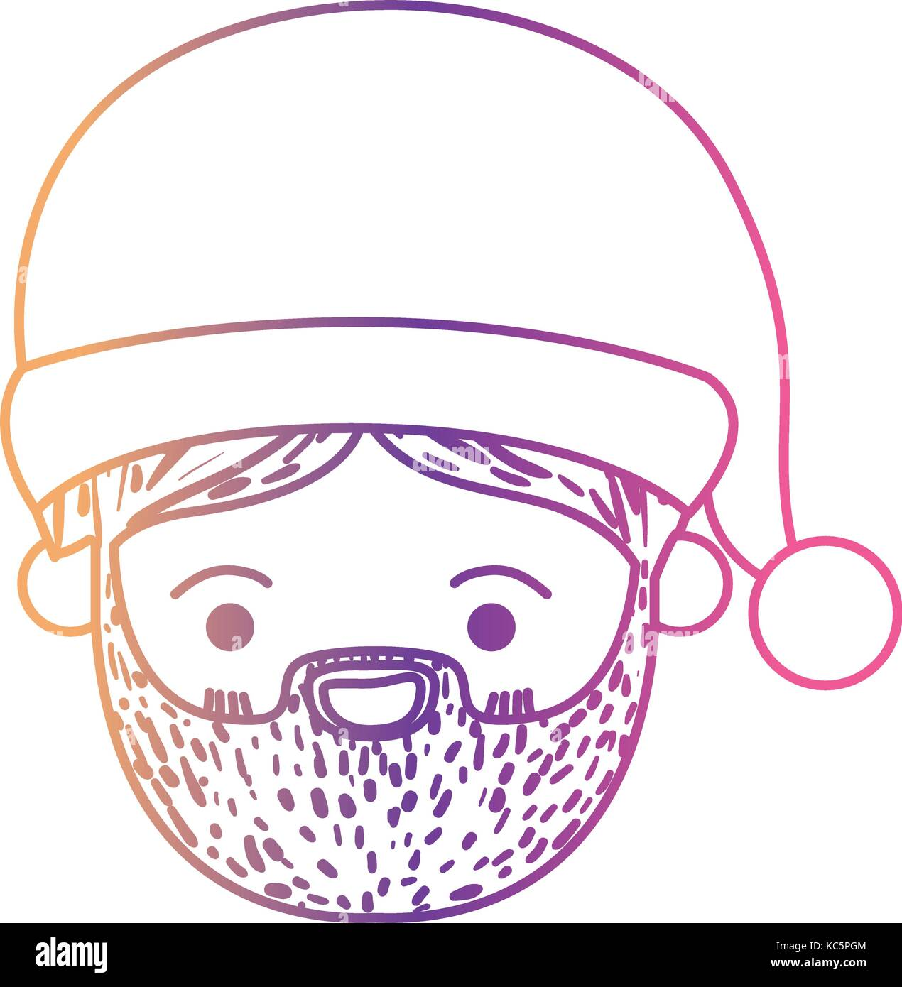 santa claus man kawaii face happiness expression with hat on ...