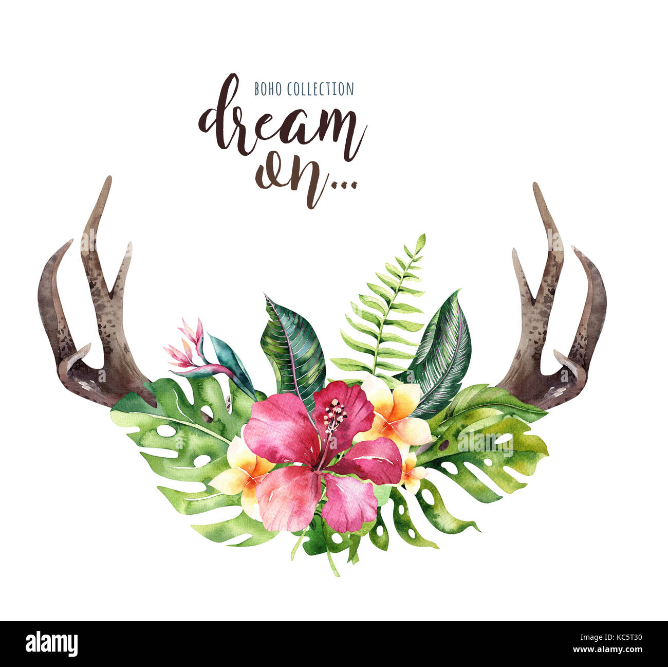 Hand drawn watercolor deer horns with tropical flower bouquets stock hand drawn watercolor deer horns with tropical flower bouquets exotic palm leaves jungle tree brazil tropic botany flowers and cow skull aloha pri izmirmasajfo Images