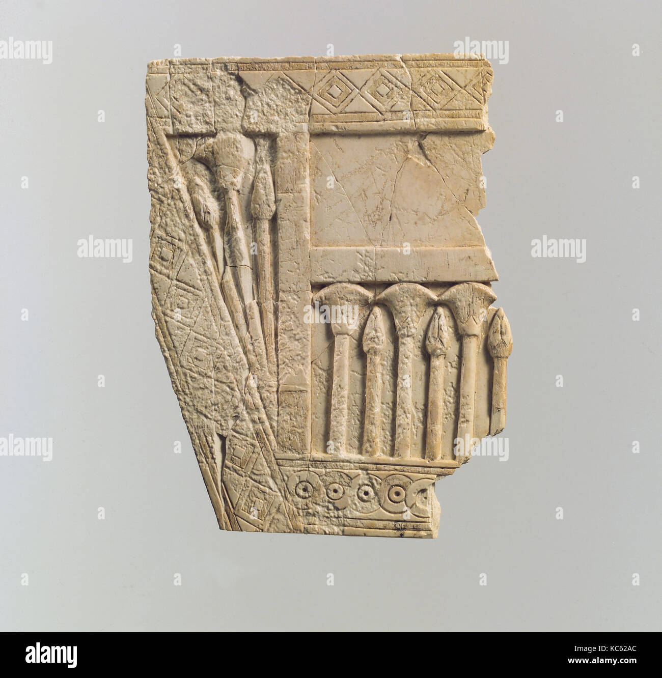 Lovely Furniture Plaque Carved In Relief With Papyrus Buds And Flowers, Ca.  9thu20138th Century B.C