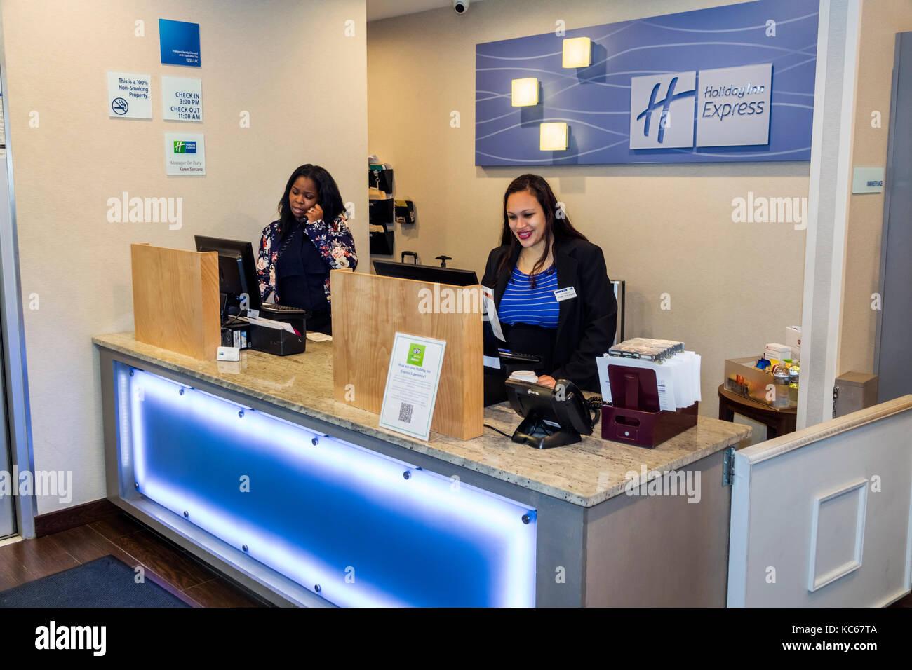 Superior Silver Spring Maryland Holiday Inn Express Hotel Front Desk Registration  Black Woman Clerk Job Lobby Interior Employee Idea
