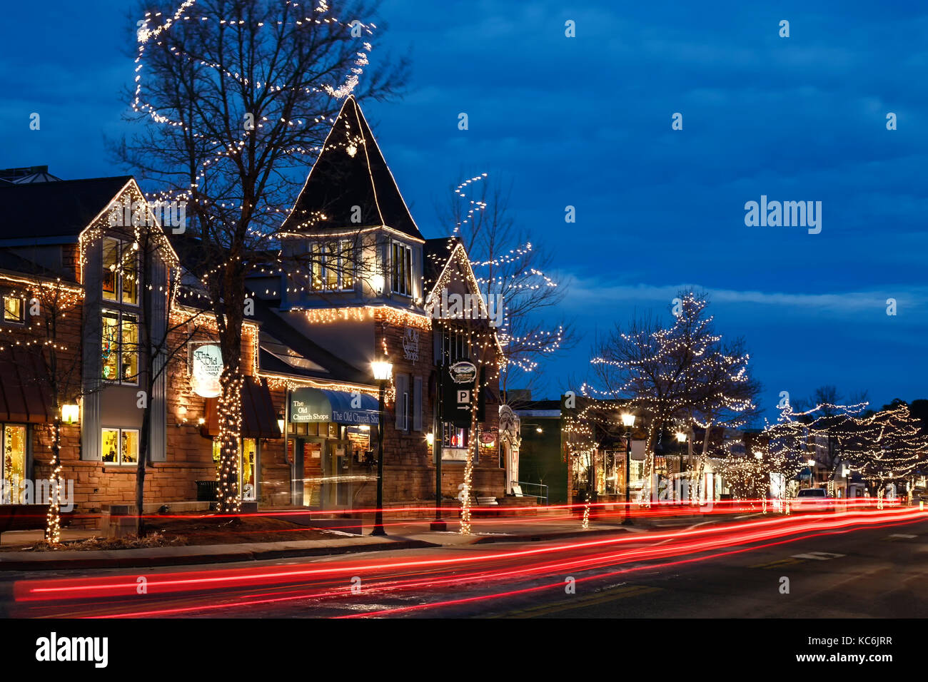 Main street shops decorated with Christmas lights, Estes Park Stock ...