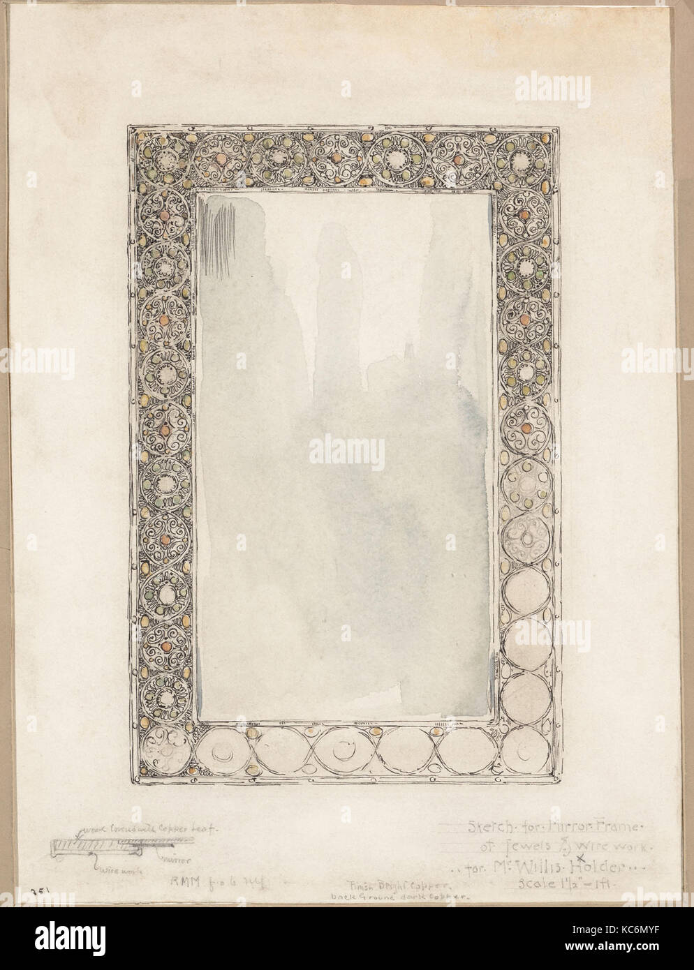 Sketch for Mirror Frame of Jewels & Wirework, Tiffany Glass and ...