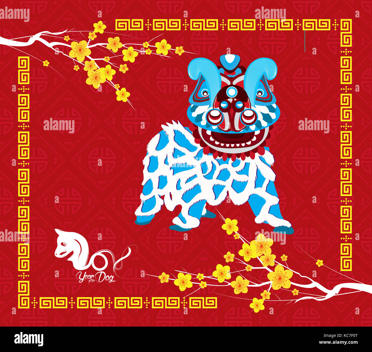 chinese new year 2018 year of the dog background with lion dance
