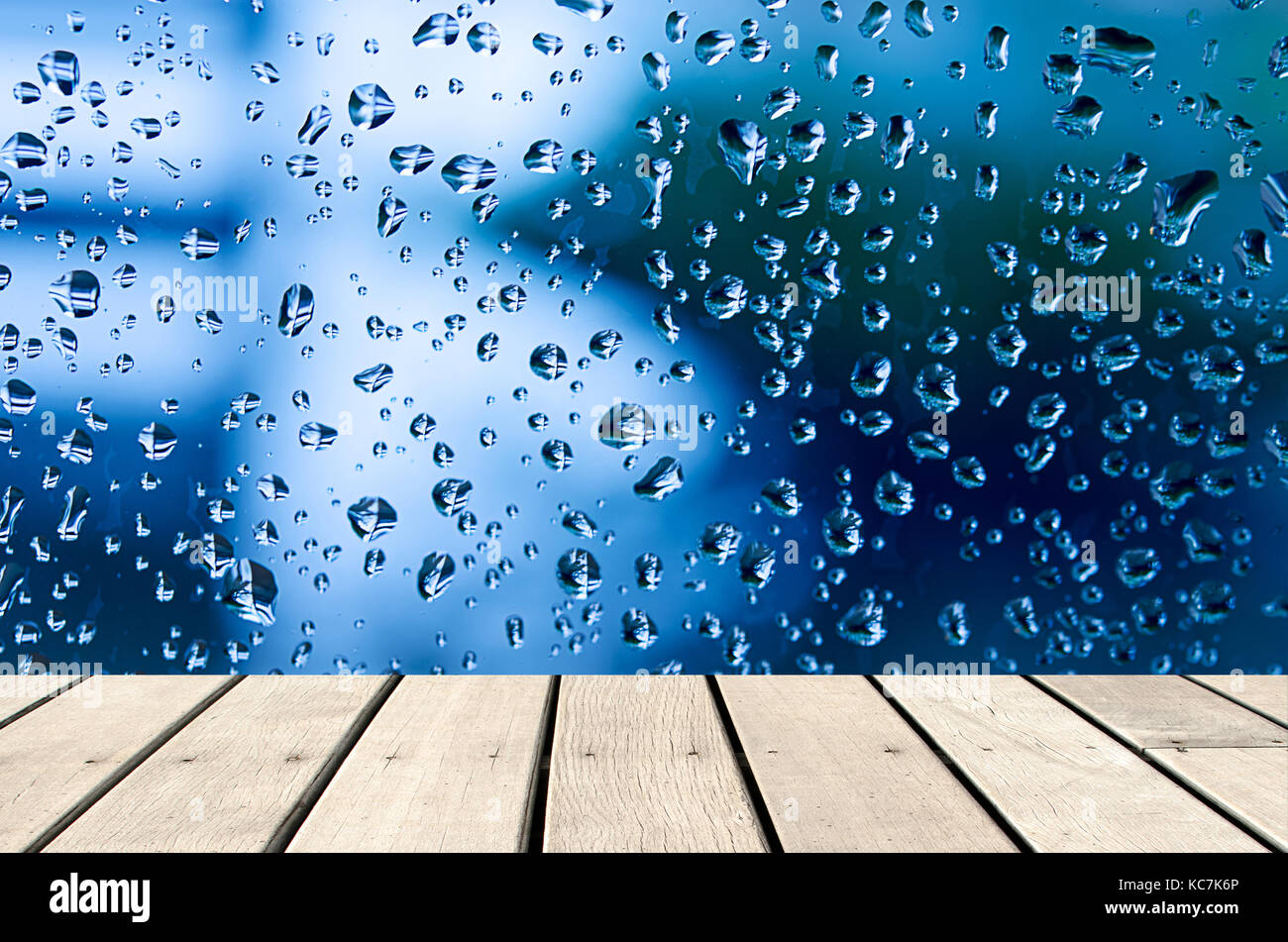 Charmant Wood Table Top Background Of Water Drops On Glass   Use Background For  Product Display Montage