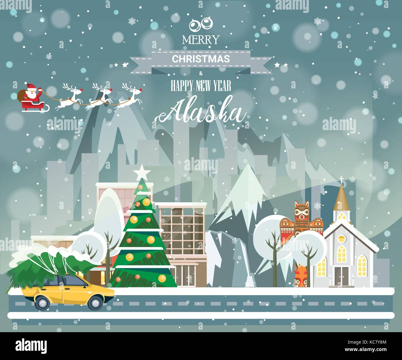Christmas Greeting Card Poster In Flat Style Merry Christmas And