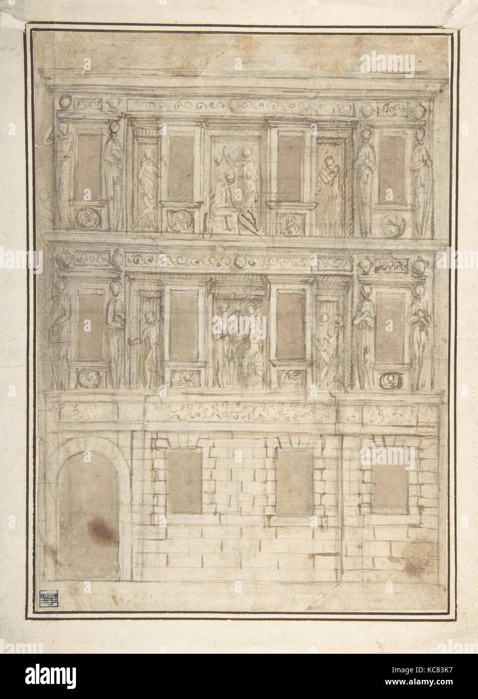 Project For A Façade Decoration (recto); Architectural Studies (verso),  Attributed To Lattanzio Gambara, 16th Century