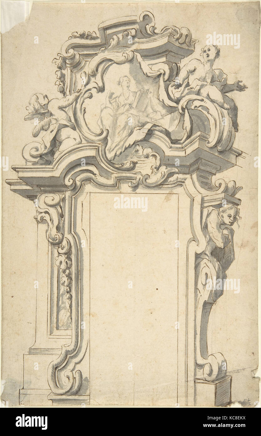 Two alternate Designs for a frame of door, Anonymous, Italian Stock ...