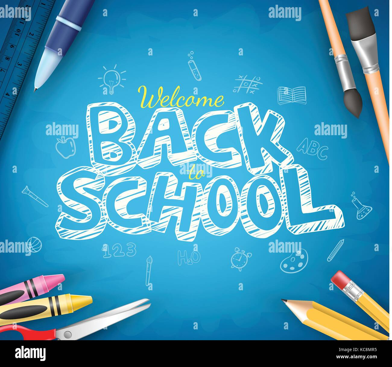 back to school text written in blue chalkboard background with