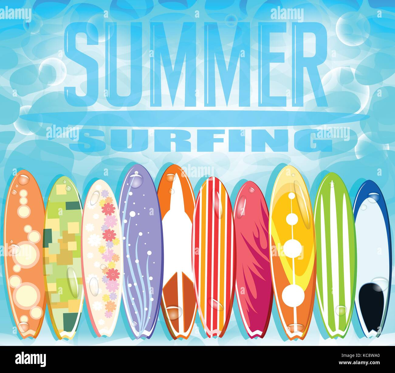 Summer Surfing Design With Set Of Colorful Surfboards Floating In