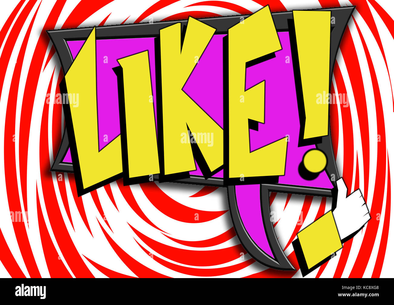 pop art comics icon with like word image with hi res rendered