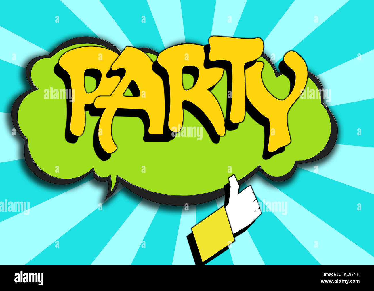 pop art comics icon with party word image with hi res rendered stock