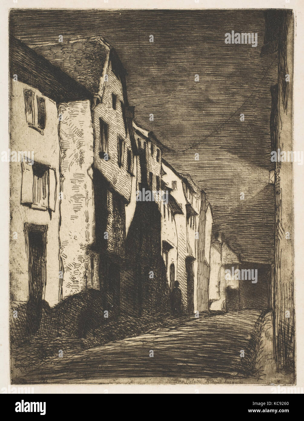 Street at Saverne, 1858, Etching and open bite or sandpaper ground; third  state of four (Glasgow); printed in black ink on ivory