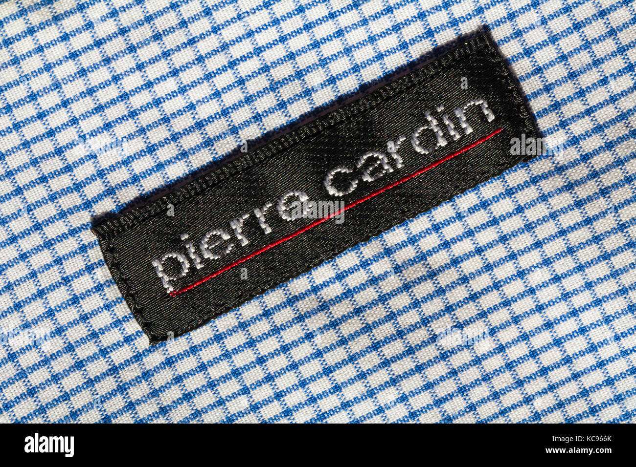 Pierre cardin stock photos pierre cardin stock images alamy pierre cardin label in mans blue and white checked shirt stock image biocorpaavc Choice Image