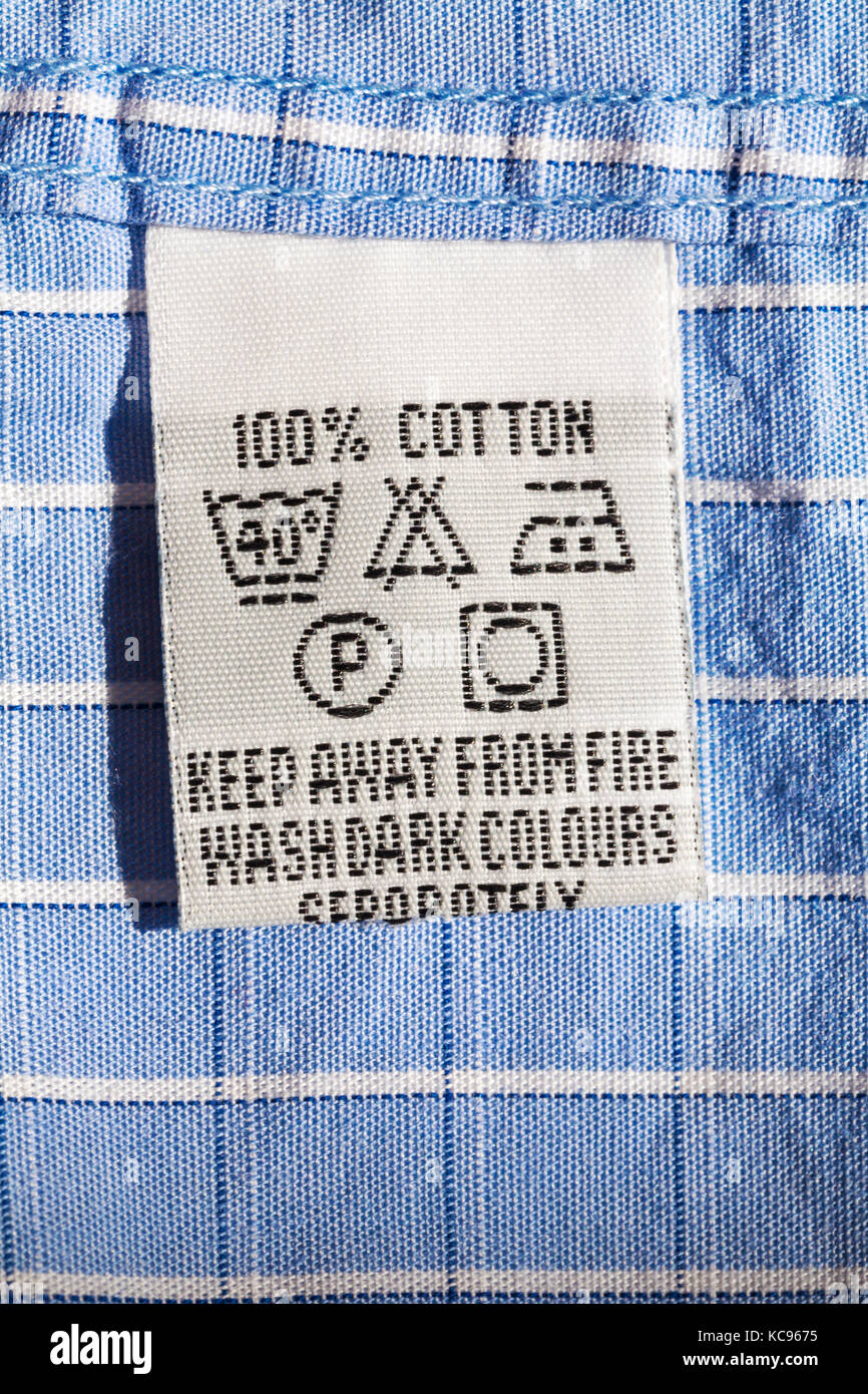 Care Washing Symbols And Instructions On Label In 100 Cotton Mans