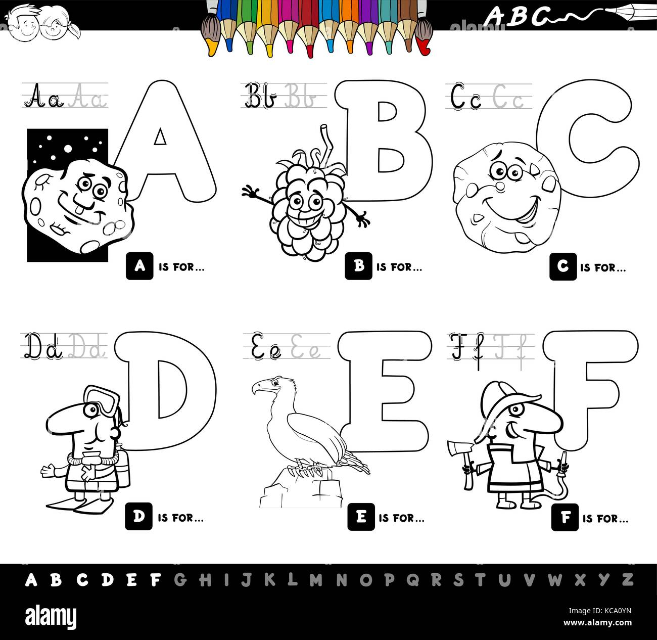 Black And White Cartoon Illustration Of Capital Letters Alphabet