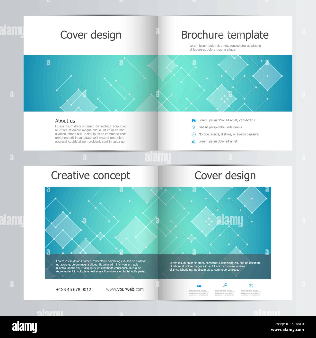 Square Brochure Template With Polygonal Abstract Background - Mini brochure template