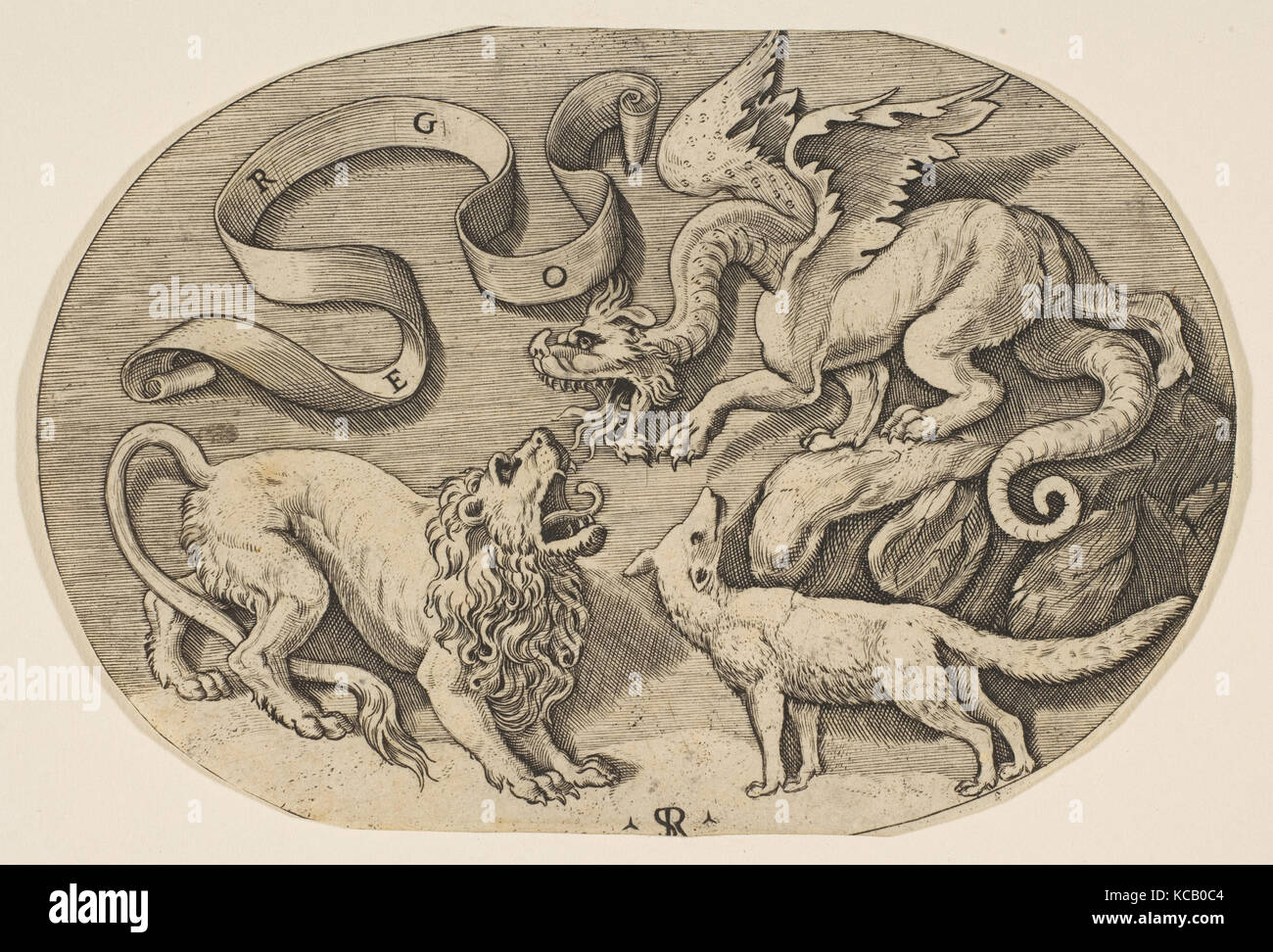 How to breed heraldic dragon - A Lion Dragon And Fox Fighting Each Other An Inscribed Banderole Above An
