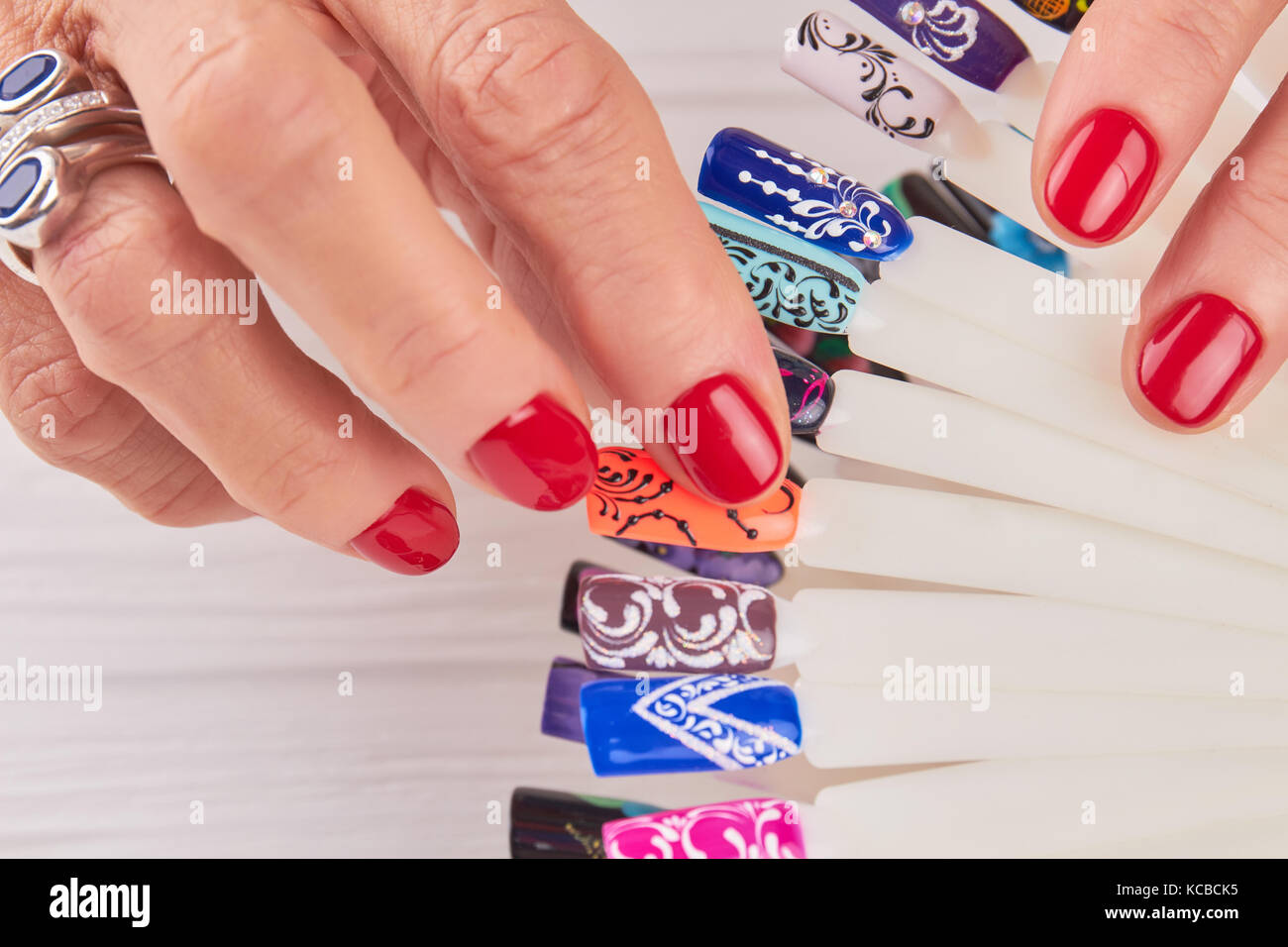Manicured hands, nail art samples close up Stock Photo: 162520601 ...