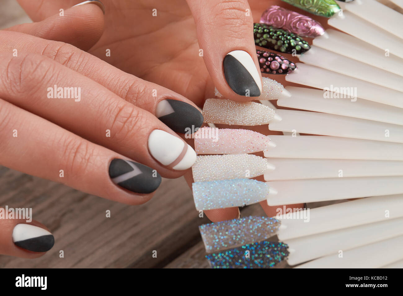 Fashion nail art samples in female hands Stock Photo: 162520878 - Alamy